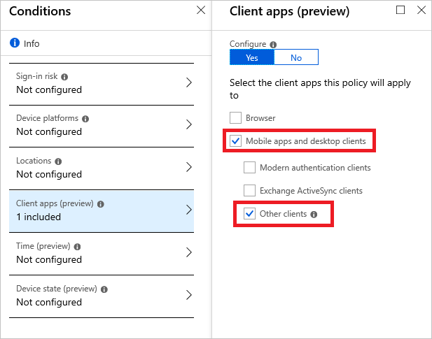 Conditional Access Policy - Client apps equals Other