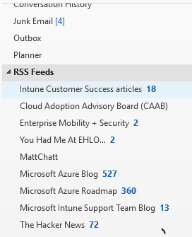 Junk Email [4] Outbox Planner RSS Feeds Intune Customer Success articles 18 Cloud Adoption Advisory Board (CAA8) Enterprise Mobility + Security 2 You Had Me At EHLO... 2 Microsoft Azure Blog 527 Microsoft Azure Roadmap 360 Microsoft Intune Support Team Blog 13 The Hacker News 72